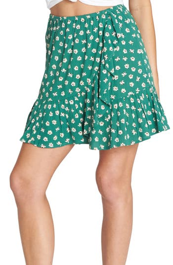 Billabong For the Ride Floral Print Faux Wrap Skirt