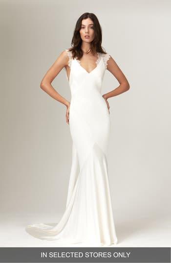 Savannah Miller Alma Satin V-Neck Lace Detail Wedding Dress