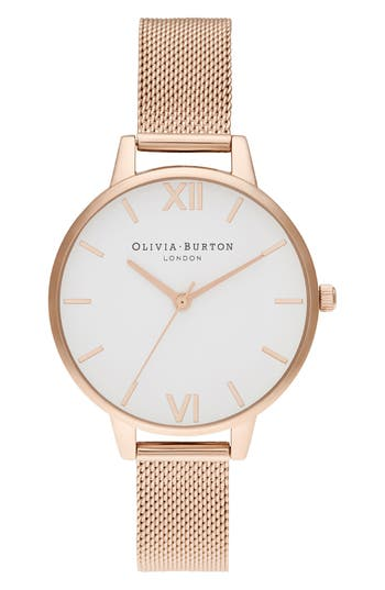 Olivia Burton White Dial Mesh Strap Watch, 34mm