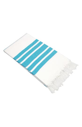 Linum Home Textiles Herringbone Striped Turkish Pestemal Towel, Size One Size - Blue/green