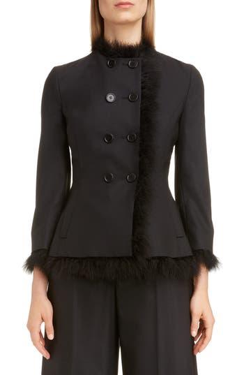 Simone Rocha Marabou Trim Double Breasted Stretch Wool Jacket