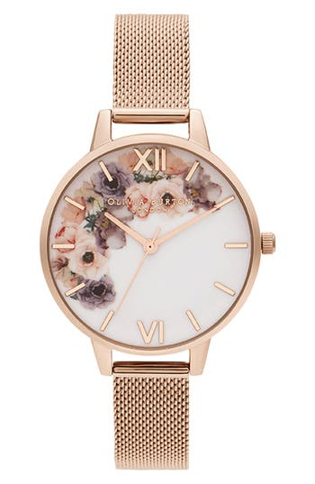 Olivia Burton Watercolour Florals Mesh Strap Watch, 34mm