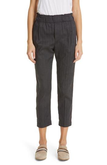 Brunello Cucinelli Chevron Weave Stretch Cotton & Linen Pants