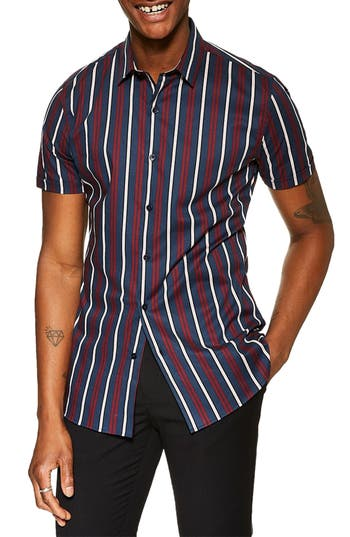 Topman Skinny Fit Stripe Stretch Shirt