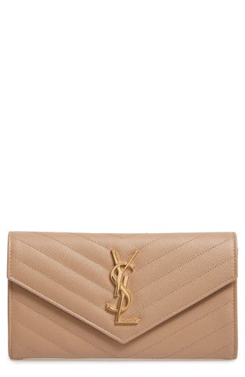 Saint Laurent Monogram Logo Leather Flap Wallet