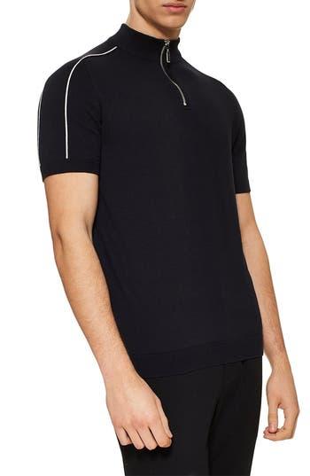 Topman Short Sleeve Zip Sweater