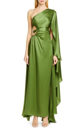 Cult Gaia Cosette One-Shoulder Silk Satin Dress