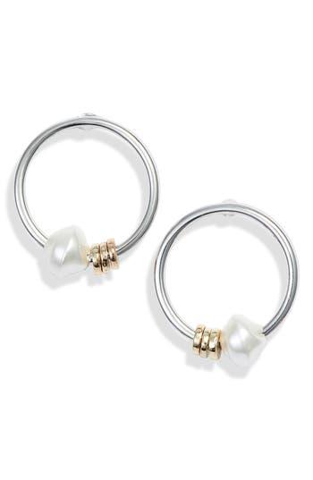 Something Navy Imitation Pearl Ring Hoop Earrings