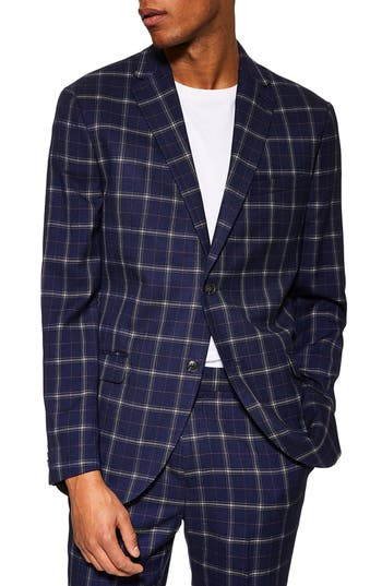 Topman Tailored Fit Check Suit Jacket