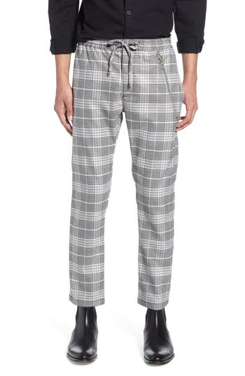Topman Stretch Skinny Fit Check Jogger Pants