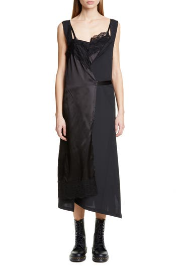 Junya Watanabe Asymmetrical Wool & Satin Midi Dress