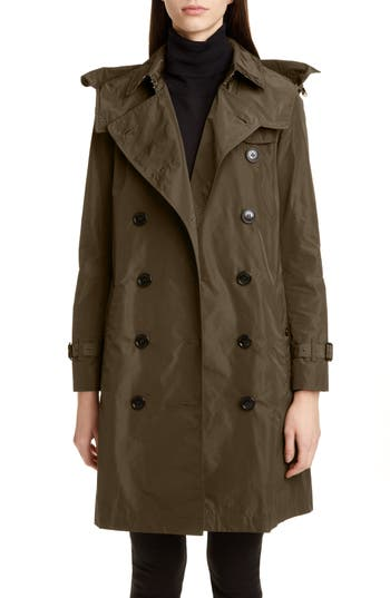 Burberry Kensington Trench Coat with Detachable Hood
