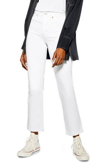 Topshop Editor Straight Leg Jeans (Cream)