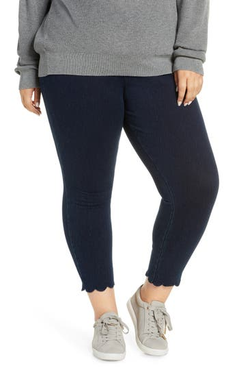 Lyssé High Rise Scallop Hem Denim Leggings (Plus Size)
