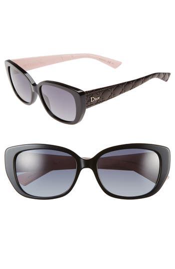 Dior Lady 55Mm Cat Eye Sunglasses - Black/ Pink