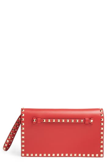 VALENTINO GARAVANI 'Rockstud' Leather Flap Clutch