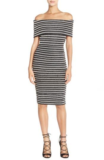 Women's Elliatt 'Sculpture' Chevron Stripe Woven Sheath Dress
