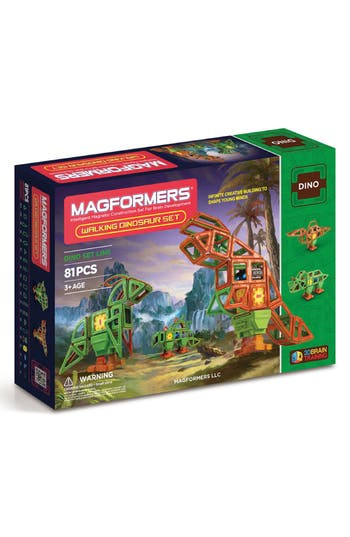 Boys Magformers Walking Dinosaur WindUp Toy Magnetic Construction Set