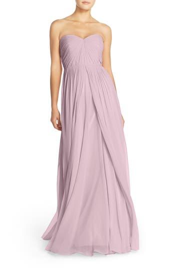 Jenny Yoo Mira Convertible Strapless Chiffon Gown, Pink