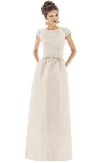 Alfred Sung Cap Sleeve Dupioni Full Length Dress, Beige