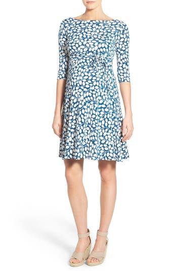Women's Leota 'Ilana' Belted Maternity Dress, Size Small - Blue