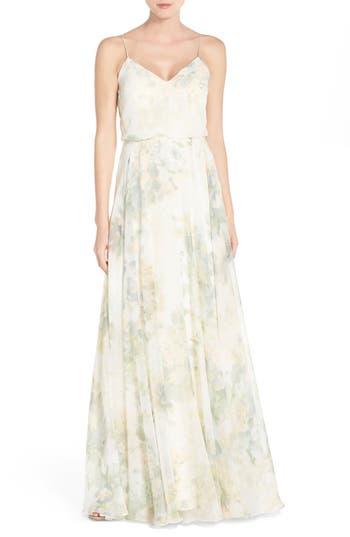 Jenny Yoo Inesse V-Neck Chiffon Gown, White