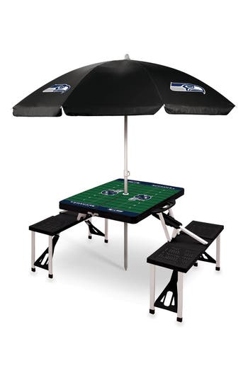 Picnic Time Team Football Field Design Portable Picnic Table With Umbrella, Size One Size - Grey