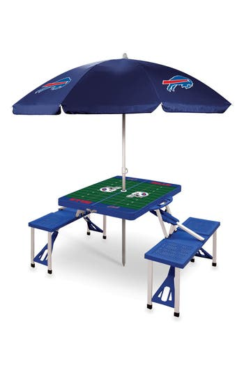Picnic Time Team Football Field Design Portable Picnic Table With Umbrella Size One Size  Blue