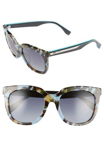 Women's Fendi 54Mm Retro Sunglasses - Blue Havana/ Teal
