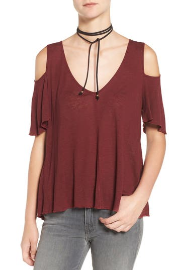 Free People Bittersweet Cold Shoulder Top, Red