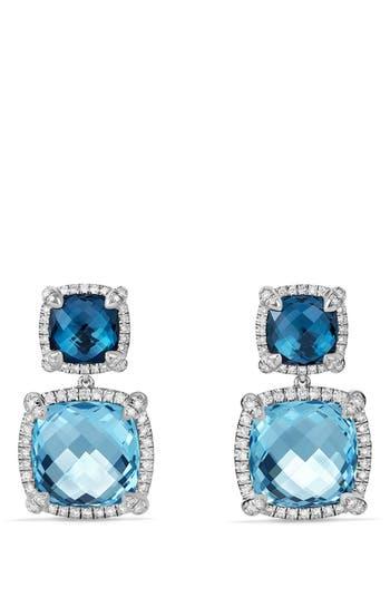 Women's David Yurman 'Châtelaine' Pavé Bezel Double Drop Earrings With Diamonds
