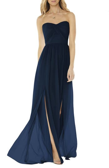 Social Bridesmaids Strapless Georgette Gown, Blue