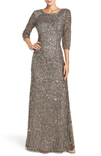 Adrianna Papell Sequin Mesh Gown, Metallic
