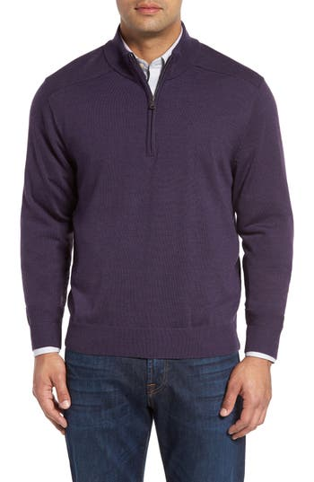 Big & Tall Cutter & Buck Douglas Quarter Zip Wool Blend Sweater, Purple
