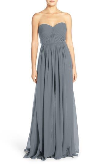 Jenny Yoo Mira Convertible Strapless Chiffon Gown, Grey