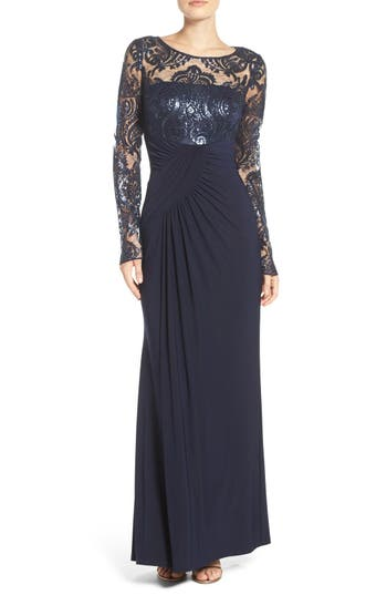 Eliza J Draped Long Sleeve Gown
