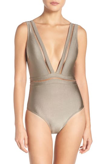 Ted Baker London Plunge One Piece Swimsuit, Beige