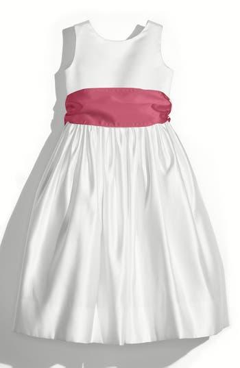 Girls Us Angels White Tank Dress With Satin Sash Size 4  Pink