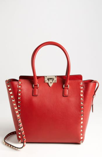 Valentino 'Rockstud' Double Handle Leather Tote - Red