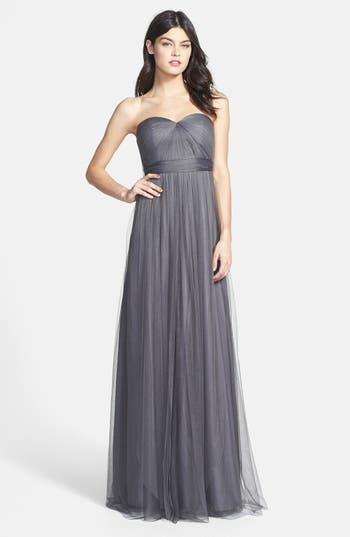 Jenny Yoo Annabelle Convertible Tulle Column Dress, Grey