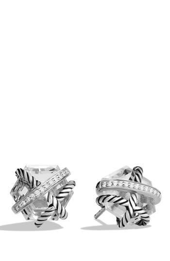 Women's David Yurman 'Cable Wrap' Earrings With Semiprecious Stones & Diamonds