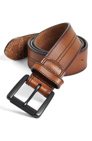 Big & Tall Johnston & Murphy Leather Belt, Tan/ Black