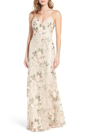 Jenny Yoo Julianna Embroidered Gown, Ivory