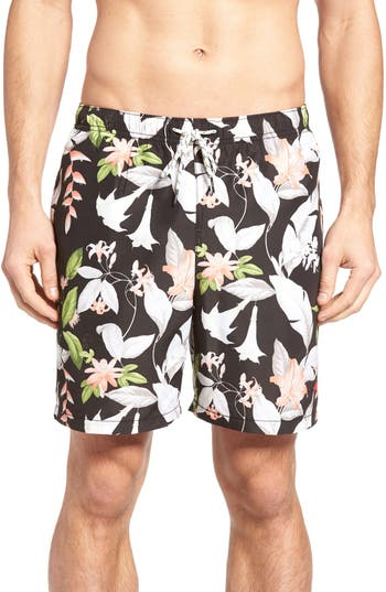Big & Tall Tommy Bahama Naples Brego Blooms Swim Trunks - Black