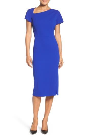 Maggy London Asymmetrical Sheath Dress, Blue