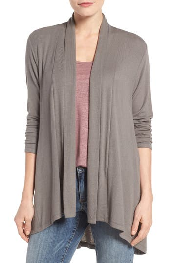 Women's Bobeau High/low Jersey Cardigan, Size X-Small - Beige