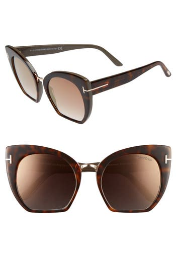Tom Ford Samantha 55Mm Sunglasses - Havana/ Brown Mirror