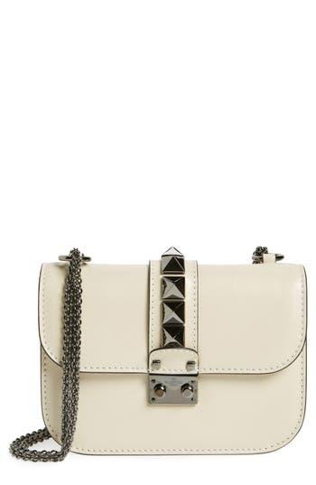 Valentino Garavani Small Rockstud Leather Shoulder Bag - Ivory