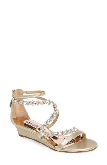 Badgley Mischka Belvedere Embellished Wedge Sandal
