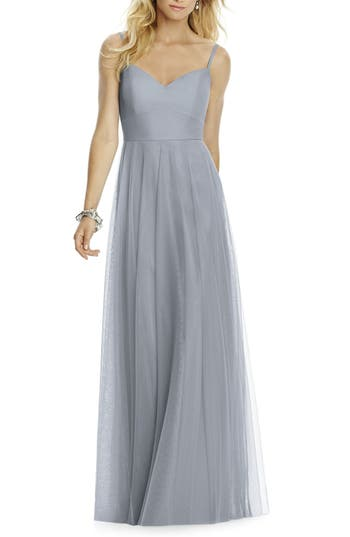 After Six Sleeveless Tulle A-Line Gown, Grey